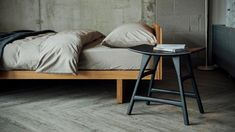 osso-stool-in-black-oak-with-natural-oak-kyoto-bed - all from Natural Bed Company Bedroom Seating, Bedroom Chair, Bedroom Sets, Home Bedroom, Bedroom Furniture, Dream Bedroom, Wood Furniture, Bedrooms, Japanese Style Bedroom