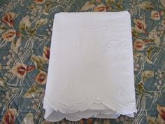 Antique Linen Dowry Sheet. Monogram JB. Cut away border and turnback. Hand embroidered. by JacquelineMcEwan on Etsy