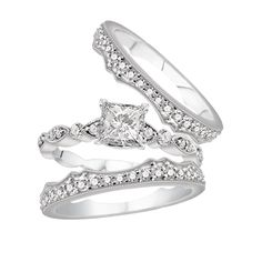 14K White Gold Vintage Wedding Set.    http://www.thediamondstore.com/products/engagement-rings/14k-white-gold-vintage-wedding-set-%7C-ash22373/6-670