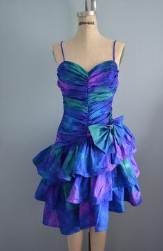 Zum Zum 1980's Blue Purple Green Ruched Prom by cougarvintage,