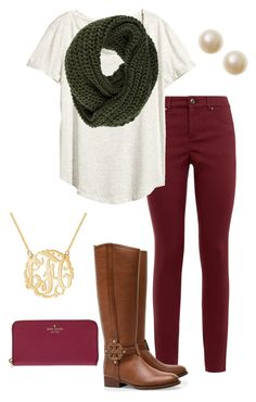 Fall preppy outfit by perfectlypreppy15 on Polyvore featuring H&M, Accessorize, Tory Burch, even&odd and Kate Spade