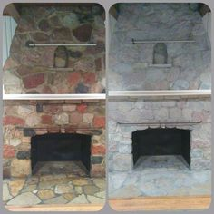 ugly stone fireplace makeover, concrete masonry, fireplaces mantels, Before and after