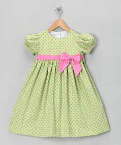 Take a look at this Green & Pink Pique Dress - Toddler on zulily today!