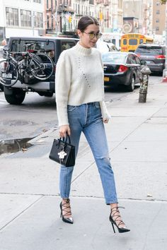 Bella Hadid's Secret Weapon For Making Jeans and a Sweater Stand Out