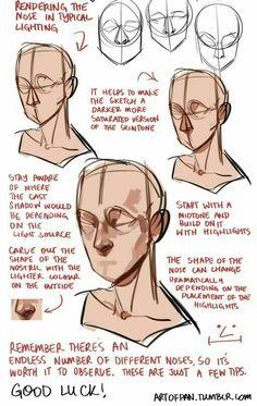 Drawing Tips Art Resources Tutorials — artofpan: Whoo, super long nose tutorial! Digital Painting Tutorials, Digital Art Tutorial, Art Tutorials, Drawing Tutorials, Digital Paintings, Painting Tips, Drawing Techniques, Drawing Tips, Shading Drawing