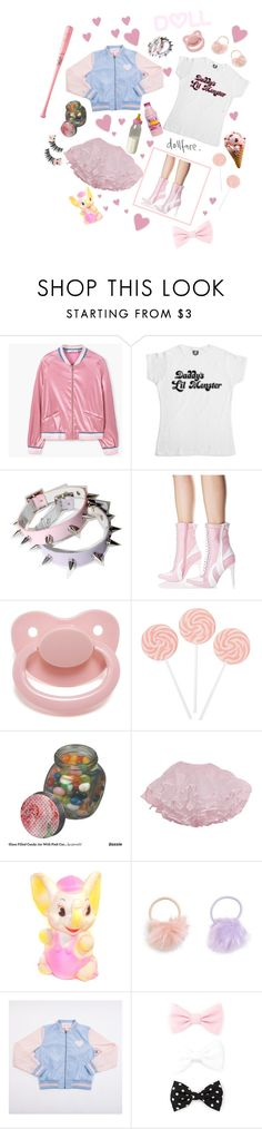 """""""baby pastel Harley Quinn"""" by dazzling-pink-elaina ❤ liked on Polyvore featuring MANGO, Current Mood, Louisville Slugger, Jelly Belly, New Look and Forever 21"""