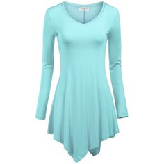 MBJ Womens Long Sleeve Handkerchief Hem Tunic Top ($13) ❤ liked on Polyvore featuring tops, tunics, blue tunic, long sleeve tops, blue top, long sleeve tunic and blue long sleeve top