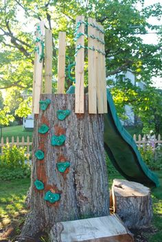 wife mother gardener tree trunk crows nest and slide treehouse designs. 3 – Claire fell in love with this awesome design from Wife, Mother, Gardener when they had to cut down her favorite tree in their backyard – it is now her boys' favorite outdoor play Kids Outdoor Play, Outdoor Play Spaces, Backyard For Kids, Kids Play Area, Backyard Ideas, Garden Ideas, Playground Design, Backyard Playground, Playground Ideas
