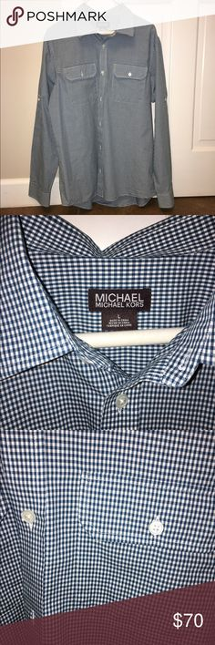 MICHAEL Michael kors men's button up shirt Brand new never worn. Mens size large. Teal and white checked shirt MICHAEL Michael Kors Shirts Dress Shirts
