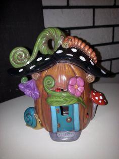 Hand Painted Ceramic Pumpkin Fairy House
