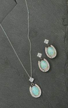 Montana Silversmiths Horseshoe with Opal Center Jewelry Set | Cavender's