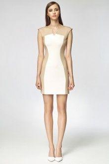 MISEBLA ecru sukienka z beżowymi elementami