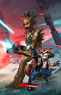Mapache Cohete y Groot(Star Wars style)