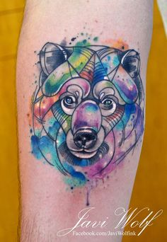 Watercolor bear. Tattooed by Javi Wolf For great tattoos don't forget to visit Inkspiration World