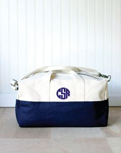 A sturdy canvas duffel with a custom monogram will take them far. #etsygifts