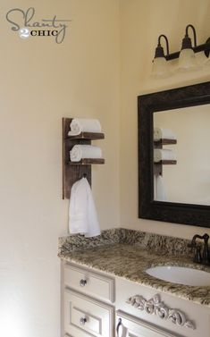Our Cottage Super Cute DIY Towel Holder! - Shanty 2 Chic The Well Stocked Kitchen Every cook dreams Diy Bathroom, Trendy Bathroom, Hand Towels Bathroom, Rustic Towels, Bathroom Towels, Diy Towels, Towel Holder Bathroom, Towel Holder Diy, Bathroom Towel Storage