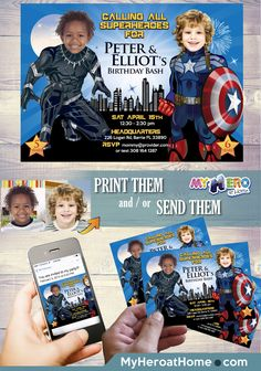 Captain America and Black Panther Birthday Party Invitation. Turn your children into their favorites Avengers. Joint Avengers Party Ideas. Superheroes siblings Birthday Invitation. #JointAvengersPartyIdeas #AvengersBirthdayInvitation #BlackPantherandCaptainAmericaPartyIdeas #CaptainAmericaAndBlackPantherBirthdayIdeas #myheroathome