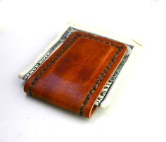 Mens dark brown leather money clip  magnetic by FatCatLeather, $19.00