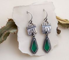Rustic Stamped Sterling Silver Green Onyx Gemstone by PrivateRoad, $44.00