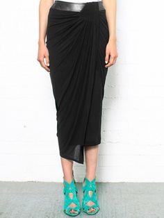 Helmut Lang Schema Jersey Draped Skirt on shopstyle.co.uk