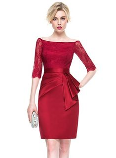 e682b02e3854d Sheath Column Off-the-Shoulder Knee-Length Satin Lace Cocktail Dress With  Ruffle