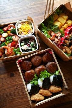 Japanese Sports Day Bento Lunch, featuring meat-wrapped onigiri, classic onigiri, and inari sushi Bento Recipes, Cooking Recipes, Healthy Recipes, Cooking Bacon, Japanese Dishes, Japanese Food, Japanese Meals, Japanese Lunch Box, Cute Food