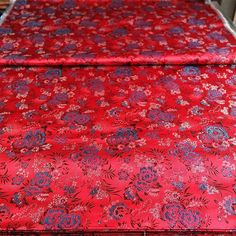 #red #back #with #lake #blue #lakeblue #peony #flowers #and #black #leaf #pattern #红 #底 #湖蓝 #牡丹#黑叶#花型 #hangzhou #silk #brocade #china #chinese #traditional #flowers #pattern Add:JianKang...
