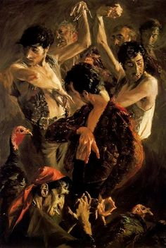 The dancing of the peacocks is one of artworks by Baldomero Romero Ressendi. Artwork analysis, large resolution images, user comments, interesting facts and much more. Dance Paintings, Spanish Painters, Arte Horror, Process Art, Italian Artist, Art For Art Sake, Medium Art, Dark Art, Art Pictures