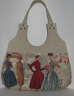 vintage sewing pattern tote - what a great idea. You can now photocopy onto… Handmade Purses, Handmade Handbags, Tote Pattern, Purse Patterns, Patchwork Bags, Quilted Bag, Denim Bag, Fabric Bags, Beautiful Bags