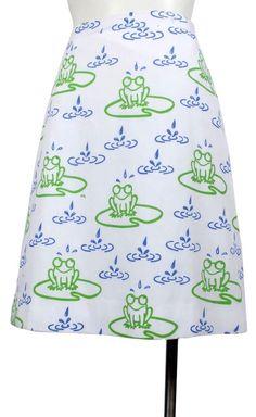 Vintage 70s VESTED GENTRESS Novelty Print A-Line Skirt Frogs Lily Pads Rain M L #VestedGentress #Casual