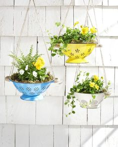 How cute is this?! Here's how to convert a colander into a cheerful planter.