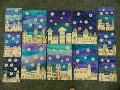 Bildergebnis für zimní městečko ve výtvarce Winter Art Projects, School Art Projects, Classe D'art, January Art, 2nd Grade Art, Kindergarten Art, Art Lessons Elementary, Art Classroom, Art Plastique