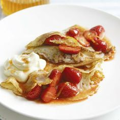Strawberry & Amaretto Pancakes recipe from Dairy Diary