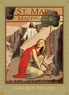 Saint Mary Magdalene at the tomb on Easter morning, by John Chase. I love the art deco style and how Mary's red robe stand out against the stones and arid landscape.