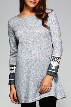 $15.74 Geometric Pattern Long Sleeve Dress