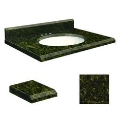 Transolid Uba Verde Granite Undermount Single Sink Bathroom Vanity Top