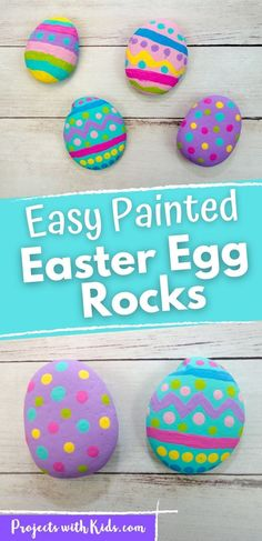 These painted Easter egg rocks are super easy and tons of fun for kids to make! Use them as part of your Easter decor or include them in a non-candy Easter egg hunt! Spring Arts And Crafts, Spring Art Projects, Clay Art Projects, Projects For Kids, Crafts For Kids, Spring Painting, Painting For Kids, Rock Painting, Art For Kids