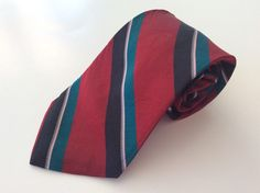 Windsor Neck Tie Red Black Green Striped LONG 100% Silk #Windsor #NeckTie