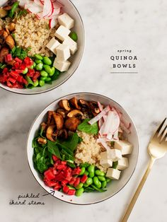 Vegan, gluten-free spring quinoa bowls are a light and tasty meal.