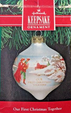 """Hallmark Keepsake Glass Ball Ornament """" Our First Christmas Together 1991 in box"""