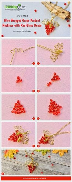 How to Make Wire Wrapped Grape Pendant Necklace with Red Glass Beads from LC.Pandahall.com | Jewelry Making Tutorials & Tips 2 | Pinterest by Jersica
