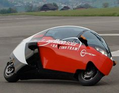 Zerotracer is a zero-emission electric motorcycle with a kevlar construction.        Fully enclosed motorcycle goes from 0 to 100 km in 4.5 seconds, has a top speed of 250 km/h, and can travel 450 km on a single charge.