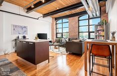 Toy Factory Lofts-43 Hanna Ave #229 Exposed Concrete, Exposed Brick, Scavolini Kitchens, Toronto Lofts, Lofts For Rent, Lounge Party, Rental Listings, Steam Room, Post And Beam