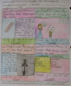 """Another 7th grade """"Vocab Collector of the Week"""" award goes to Cheyenne!  If you study her page numbers, you can see she is perfectly following instructions by not choosing EVERY word but those she likes.  This collection shows four words from the 175 pages she read for me that week!  Vocab resources online here: http://corbettharrison.com/Vocabulary.htm"""