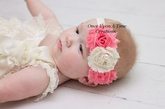 Coral & Ivory Vintage Floral Shabby Flower Headband - Newborn Baby Pearl Hairbow - Little Girls Hair Bow - Easter or Toddler Photo Prop on Etsy, $6.99