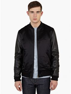 A.P.C. x Louis W. Black Satin Bomber Jacket