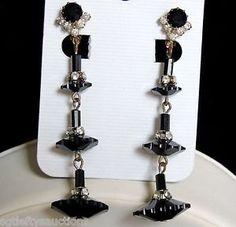VTG Swarovski Black Crystal Margarita Flower Rhinestone Rondelle Dangle Earrings