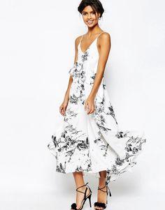 Mono Floral Cami Strap Midi Dress