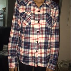 Flannel Red, blue and white flannel Molokai Girls Tops Button Down Shirts