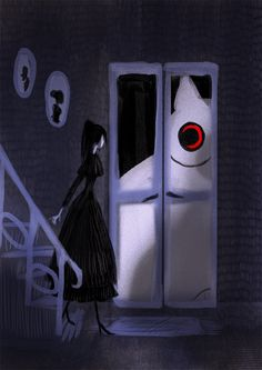 Creepy Cat 08 - Door by CottonValent on DeviantArt Wicca, Creepy Cat, Dark Drawings, Scary Art, Goth Art, Another Anime, Female Character Design, Dark Wallpaper, Fanart